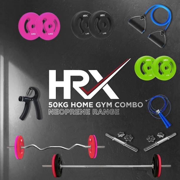 HRX 50 kg Plain,Curl and Dumbbell Rods with Accessories Neoprene Coated Home Gym Combo