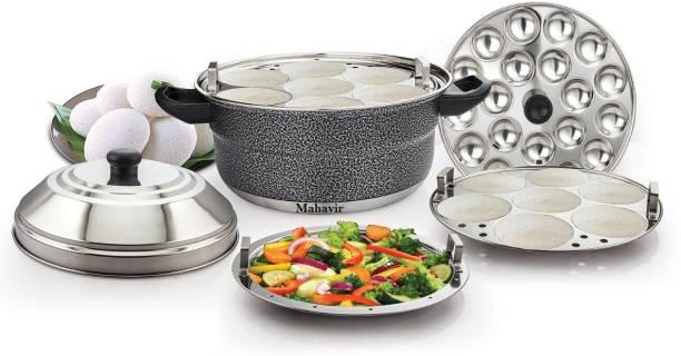 KLASSI KICHEN Colored Idly Cooker with Plate-14Idlies,1 Mini Idli Plate, 1Steamer Plate Induction & Standard Idli Maker