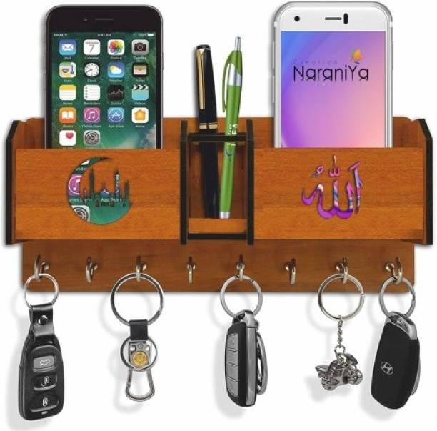 Naraniya Creation Allah 2 Mobile Holder With Pen Holder Wood Key Holder