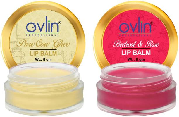 Ovlin PROFESSIONAL LIP BALM 100% ORGANIC LIP BALM WITH COCONUT OIL,SHEA BUTTER,COCOA BUTTER,ALMOND OIL & BEETROOT AND PURE COW GHEE LIP BALM (Pack of:2,16g) NATURAL BEETROOTS & ROSE, NATURAL PURE COW GHEE
