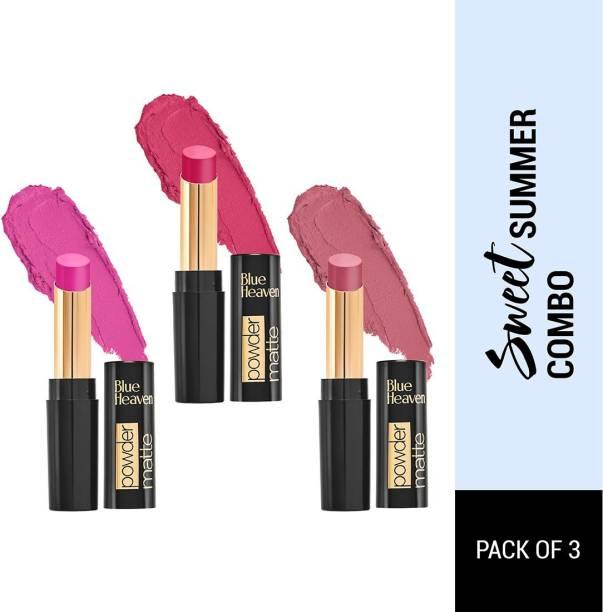 BLUE HEAVEN Powder Matte Lipsticks Sweet Summer Combo, Set of 3
