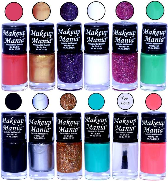 Makeup Mania HD Color Nail Polish Set of 12 Pcs (Combo MM-136) Coral Red, Golden, Blue Glitter, White Base, Pink Glitter, Sea Green, Black, Silver, Golden, Turqoise, Top Coat, Pink
