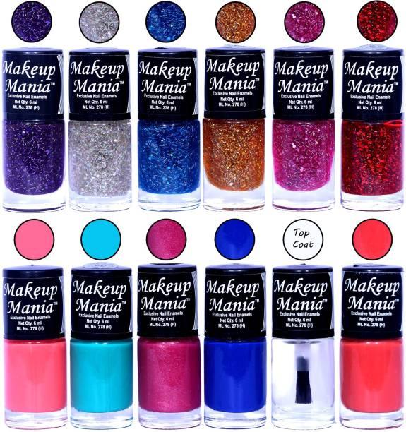 Makeup Mania HD Color Nail Polish Set of 12 Pcs (Combo MM-144) 6 Zari Shades, Light Pink, Turqoise, Blue, Top Coat, Coral
