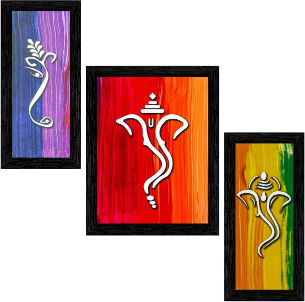 Indianara Set of 3 Lord Ganesha Framed Art Painting (3717BK) without glass (6 X 13, 10.2 X 13, 6 X 13 INCH) Digital Reprint 13 inch x 10.2 inch Painting