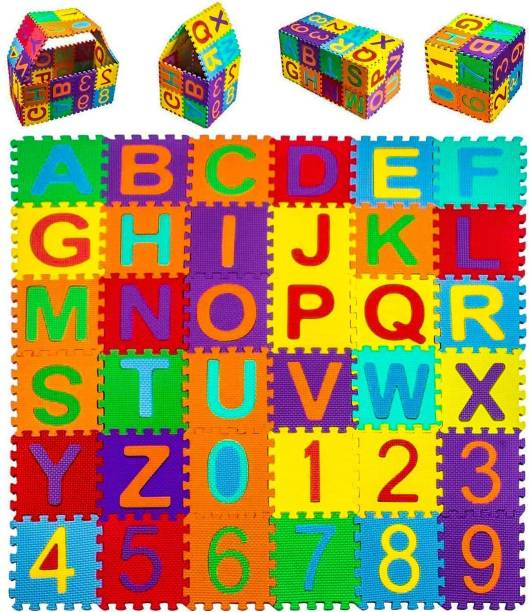 TechBlaze ABC & Numbers Mini Foam Puzzles Mat for kids Learning, Fun Activity & Building Blocks Thickest