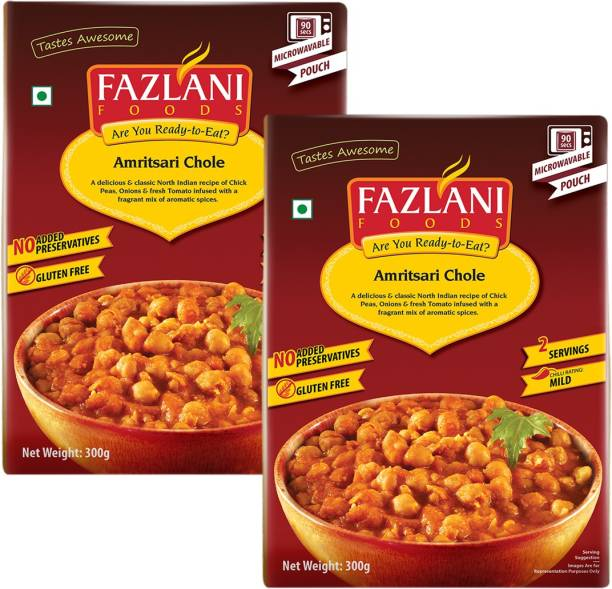 FAZLANI FOODS by Fazlani Exports Pvt limited Amritsari Chole(Chick Peas) Curry, (Pack of 2, 250gm each) 500 g