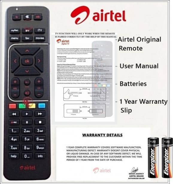 Airtel DTH 100% Genuine HD Recording Universal (Works With All Tv) Airtel DTH Remote Controller