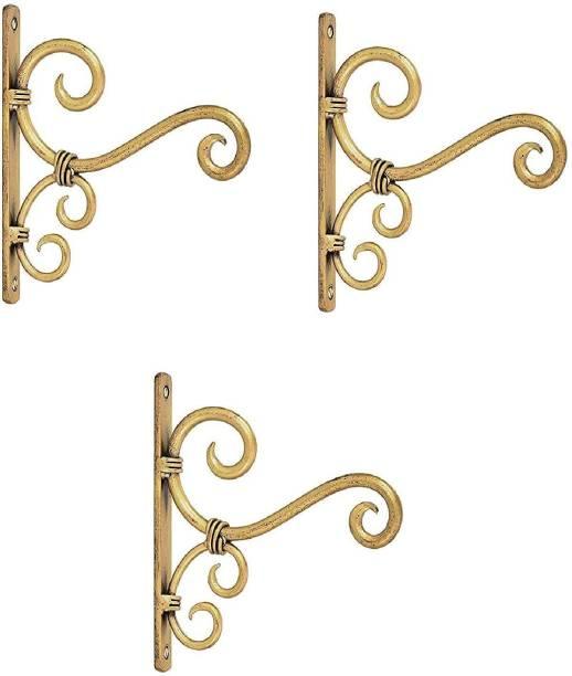 THE FINE ARTS Golden Antique Wrought Iron Wall Bracket for Bird Feeders & Houses Planters Lanterns Wind Chimes Hanging Baskets Ornaments String Lights - Set of 3 Shelf Bracket (Cast Iron) 20 Shelf Bracket