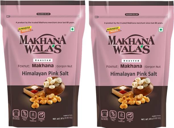 Makhanawala's Roasted Makhana (Foxnuts)/ Gorgon nut  Himalayan Pink Salt   Gluten Free Vegan Snacks   Healthy Diet Immunity Booster Snacks   Flavored makhana, Pack of 2, 80 g Each.