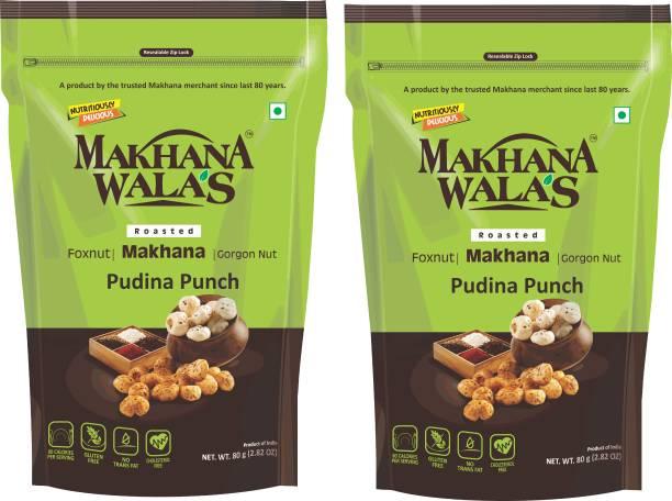 Makhanawala's Tangy Tasty Roasted Makhana (Foxnuts)/ Gorgon Nut   Pudina Punch   Gluten Free Vegan Snacks   Healthy Diet Immunity Booster Snacks   Flavored makhana, Pack of 2, 80 g Each.