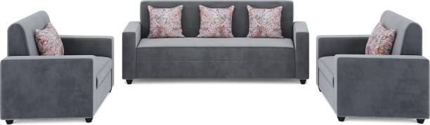 Teal Basics by Chumbak Marion Fabric 3 + 1 + 1 Grey Sofa Set