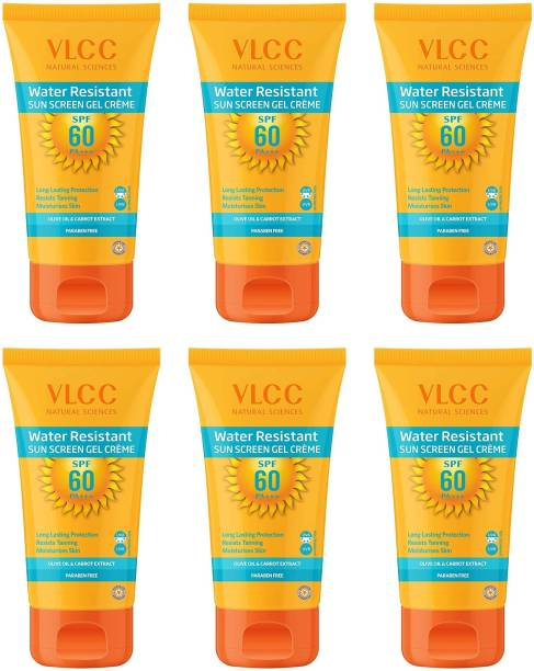 VLCC Water Resistant Sunscreen Gel Creme SPF 60 - (Pack of 6 x 100g) - SPF 60 PA+++