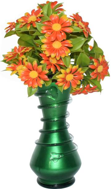 CRAFTVERRE Colored (15 cm)(Flowers Not Included) Glass Vase