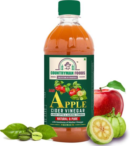 countryman foods Raw Himalayan Apple Cider Vinegar with Mother + Green Coffee and Garcinia Cambogia, 500 ML | Unfiltered and Unpasteurised | For weight loss and Blood sugar control | With high-quality Coffee Arabica un-ripened seeds extract and Garcinia cambogia fruit extract | All natural and 100% pure | Made by traditional 2 stage fermentation process Vinegar