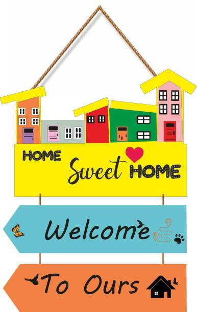 SHIV COLLECTION Wooden SWEET HOME WELCOME TO OURS Name Plate