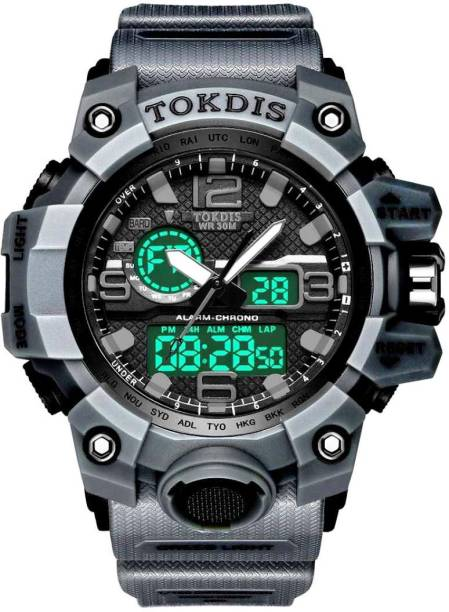 Tokdis ZDX-2 Watch for men- Imported casual black dial blu strap analog digital automatic function sports watch for men and grey Analog-Digital Watch  - For Men