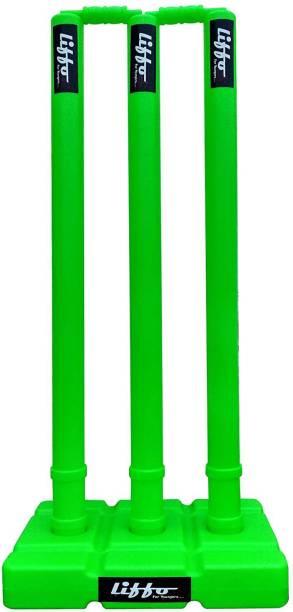 Liffo Wicket Heavy Plastic Cricket Wicket Stumps Set - 3 Stumps + 2 Bails + 1 Stand