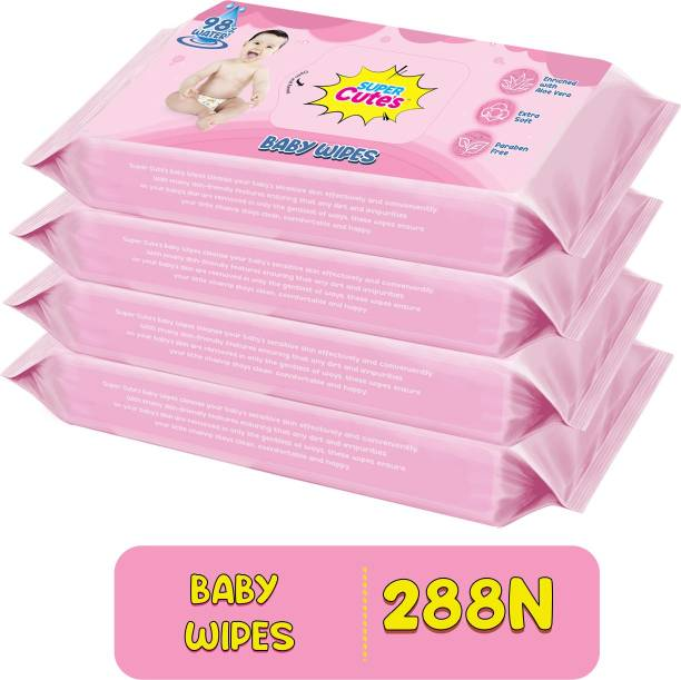 Super Cute's Premium Soft Cleansing Baby Wipes with Aloe Vera and Paraben Free