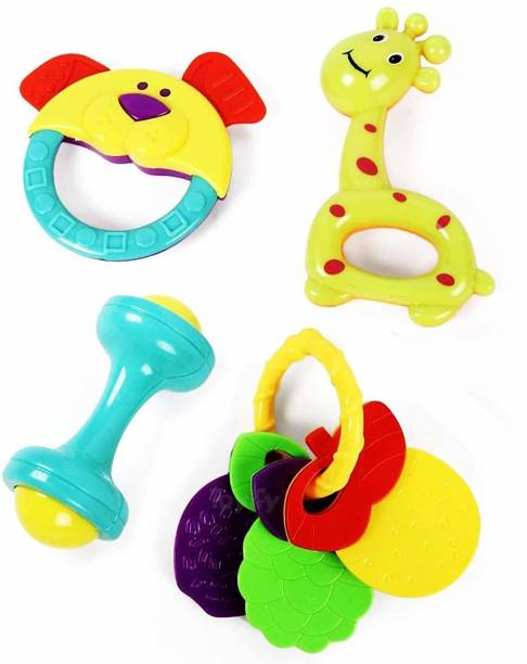 Small Berry SmallBerry Baby Rattles and Teether for Babies | Toy | Colourful Lovely Attractive Rattles, Toddlers & Children | Plastic | Teether for New Born and Infants Set of 4 Rattle