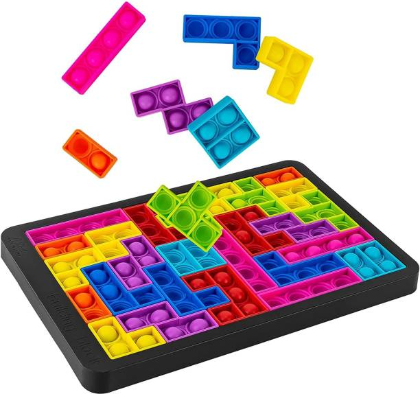 ILASARIYA Push it Pop Puzzle Game Fidget Jigsaw Toys,Rainbow Chess Board Push Bubble Tetris Building Block Game Play Toy,Pop it Game Board for Kids Adult Pressure Relieving Best Gift