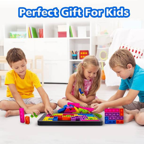 ILASARIYA Fidget Puzzle I Pop It Game Big I Tetris Puzzle for Kids I Push Bubble Jigsaw Puzzle I Multi-Color Silicone Sensory Pad I Kids Learning Tool Educational Toy I Gifts for Kids Teens Girls I Anti-Stress Tool for Anxiety Relief