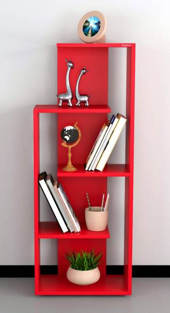Captiver Henry Wooden Books and Showpieces Rack 5 Shelf Red Engineered Wood Open Book Shelf