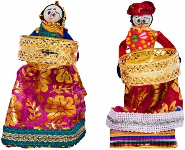 Style For Youth Rajasthani Kala Handmade Puppet Tealight Holder Handicraft Candle Stand for Bedroom Dinning Area Event Decoration Diwali Gifts Navratri Dussehra with Tealights, Diwali Candel Puppet Pair Candle