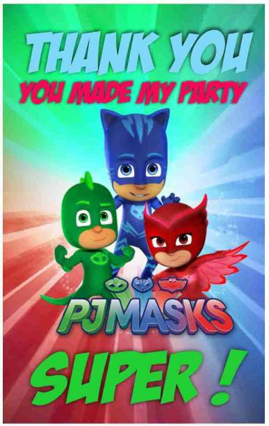 Balloonistics PJ Mask Theme Thank You Tags Thank u Cards for Return Gifts (20 Nos Cards and Glue Dots) Greeting Card