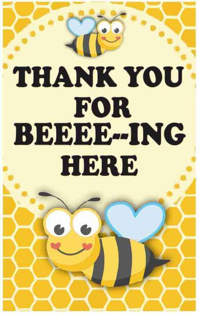Balloonistics Honey Bee Theme Thank You Tags Thank u Cards for Return Gifts (20 Nos Cards and Glue Dots) Greeting Card