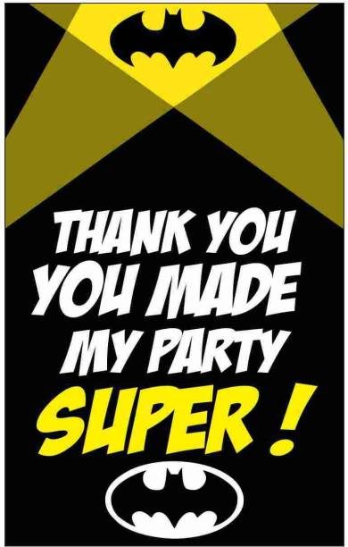 Balloonistics Batman Theme Thank You Tags Thank u Cards for Return Gifts (20 Nos Cards and Glue Dots) Greeting Card