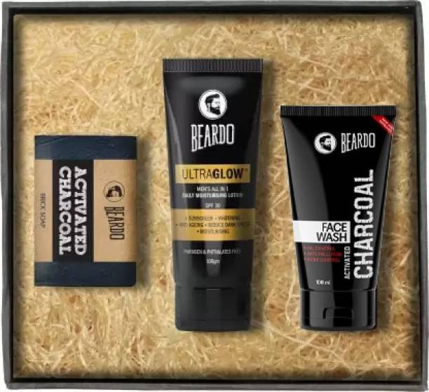 BEARDO Activated Charcoal Soap, Face Wash & Ultraglow Face Lotion
