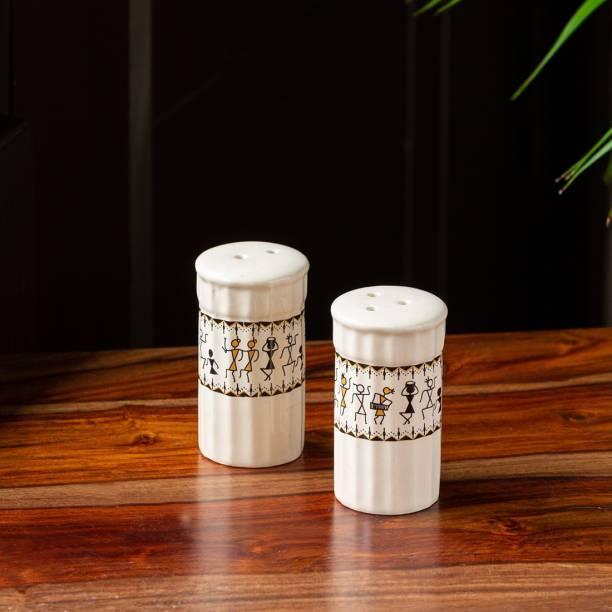 ExclusiveLane 'Whispers of Warli' Handcrafted Ceramic 2 Piece Salt & Pepper Set