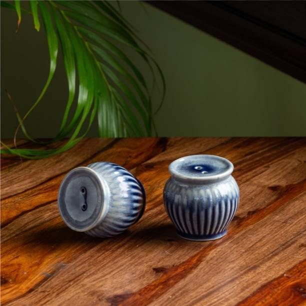 ExclusiveLane 'Sapphire Swirl' Hand Glazed Studio Pottery Ceramic 2 Piece Salt & Pepper Set