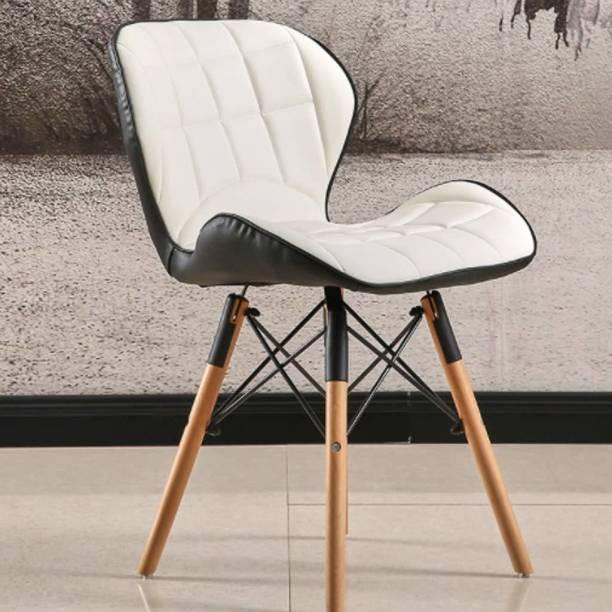 Finch Fox Eames Replica Fox Leather Dining Chair in White and Black Leather Dining Chair