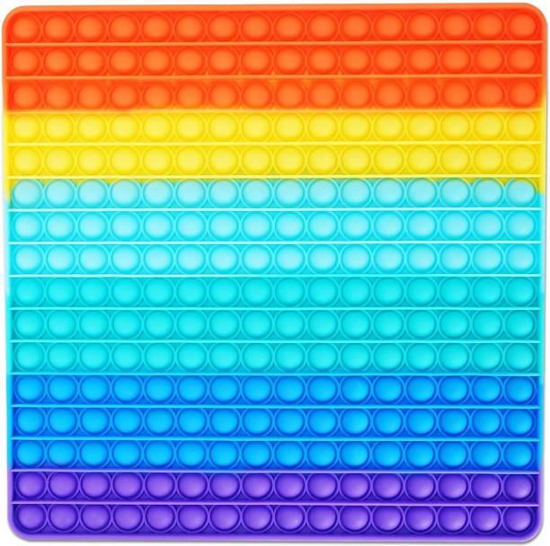 BONIRY Push Pop Fidget Toy, Big Rainbow pop, 256 Bubbles Big Size Square Bath Toy