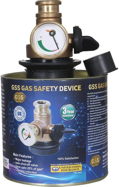 GSS Automatic Cut Off on Flame Gas Safe Leakage Detector All LPG Cylinder Regulator Device for Full Home Safety for All Kinds of Cylinder and Gas Stove- Silver Gas Detector