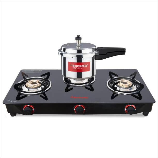 Butterfly RAPID 3B GLASS TOP STOVE + 3 LTR ALUMINIUM PRESSURE COOKER NON IB Glass Manual Gas Stove