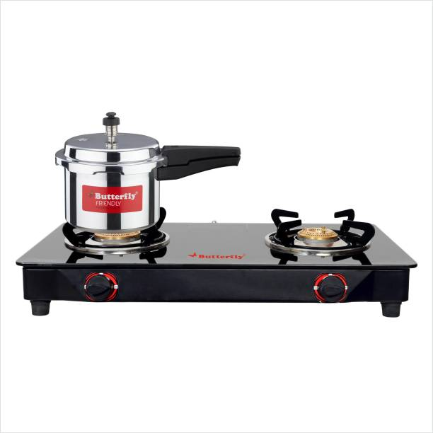 Butterfly RAPID 2B GLASS TOP STOVE + 3 LTR ALUMINIUM PRESSURE COOKER NON IB Glass Manual Gas Stove