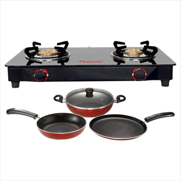 Butterfly BUTTERFLY RAPID 2B GLASS TOP STOVE + 3 PCS NON STICK NON-INDUCTION COOKWARE SET Glass Manual Gas Stove