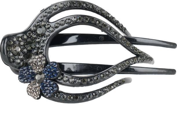 Mizorri Acrylic Crystal Duckbill Hair Claw Clip| Rhinestone Crystal Flower Hairpin Barrette | Ponytail Headwear Claw for Women Girls (9 cm x 5 cm) Bun Clip