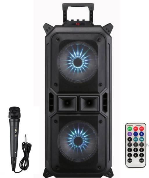 """dealquick Portable Bluetooth PA Loudspeaker - 8"""" Subwoofer System, 4 Ohm/55-20kHz, USB/MP3/FM Radio/ ¼ Mic Inputs, Multi-Color LED Lights, Built-in Rechargeable Battery w/ Remote Control - 10 W Bluetooth Conference Speaker"""