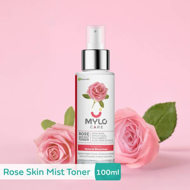 MYLO CARE Rose Skin Mist Toner 100ml for Glowing Skin with the goodness of Witch Hazel, Cucumber & Aloe vera extracts, Free from SLS & Parabens Men & Women