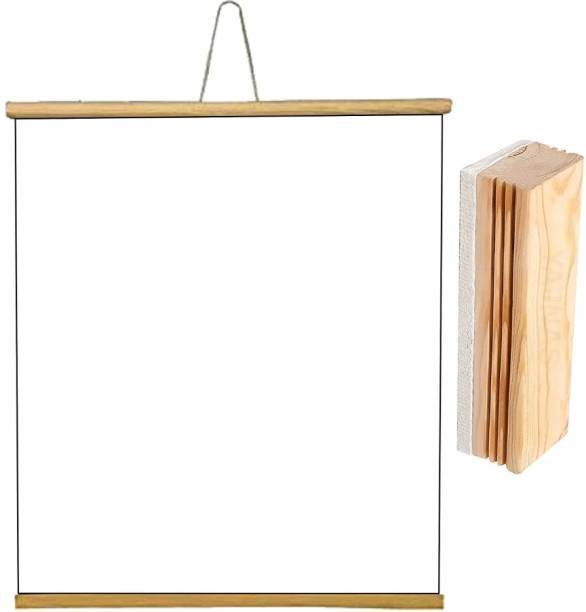 YAJNAS Non Magnetic 1.5x2 Feet, 1 Piece Roll up Wooden White Board/ Marker Board for Child and Teaching with Wall Hanging for Kids (18 Inches x 23 Inches) and 1 Premium Wooden Duster (Pack of 1 Set) (Color - White) Whiteboards and Duster Combos