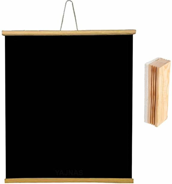 YAJNAS Non Magnetic 1.5x2 Feet, 1 Piece Roll up Wooden Black Board/ Chalk Board for Child and Teaching with Wall Hanging for Kids (18 Inches x 23 Inches) and 1 Premium Wooden Duster (Pack of 1 Set) (Color - Black) Blackboards