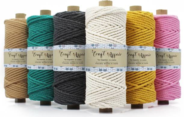 Craft Affair 3ply Twisted Oragnic Cotton Macrame Cord (Each Color 20 Meter, 4mm)   Macrame Cord For Wall Hangers And Other DIY Projects   Macrame Color Combo
