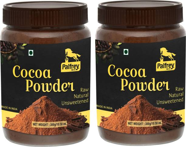 PALFREY Unsweetened & Natural 300g Cocoa Powder for Making Chocolate Cake, Cookies, Bread, Shake, Brownies, Desserts | Vegan, Keto & Gluten Free With Jar (Pack Of 2) Cocoa Powder