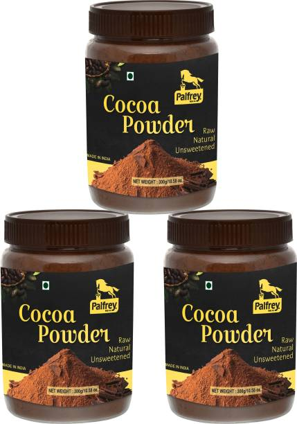 PALFREY Unsweetened & Natural 300g Cocoa Powder for Making Chocolate Cake, Cookies, Bread, Shake, Brownies, Desserts | Vegan, Keto & Gluten Free With Jar (Pack Of 3) Cocoa Powder
