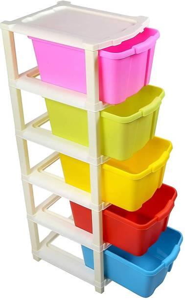 IJK ENTERPRISE Plastic 5 Layer Modular Drawer Storage Organizer Plastic Free Standing Chest of Drawers