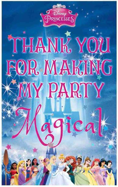 Balloonistics Disney Princess Theme Thank You Tags Thank u Cards for Return Gifts (20 Nos Cards and Glue Dots) Greeting Card