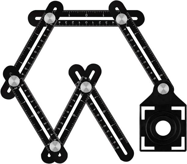 catson Aluminum Alloy Six fold universal Angle Measuring Tile wood Hole Marking Multi Function Template Tool Marking Gauge
